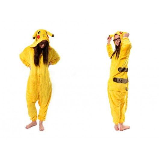 Kigurumi overal na spanie s motivom pikachu v zltej farbe