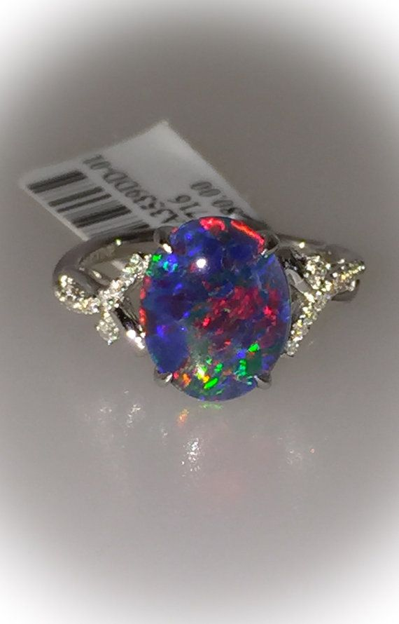 Natural Black Opal Ring 18k White Gold & by PristineCustomRings