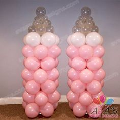 Pink Baby Bottle Balloon Column, great addition for a girl baby shower balloon decor #PartyWithBalloons