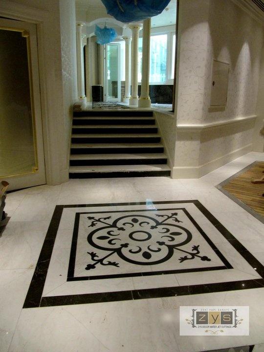 Foyer Flooring Nj : Custom water jet marble medallion new jersey