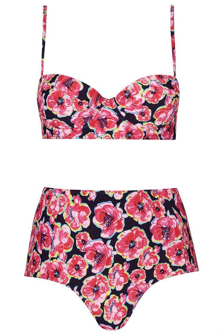 Poppy Print Bikini Top and High-Waisted Bottoms - Topshop