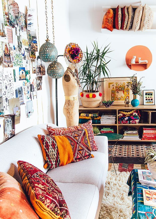 love the idea of putting the textiles in the shelf Jungalow HQ / Justina Blakeney