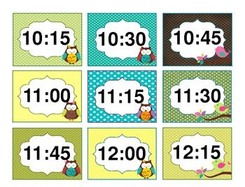 Subject labels and times (agenda) Owl theme classroom decoration
