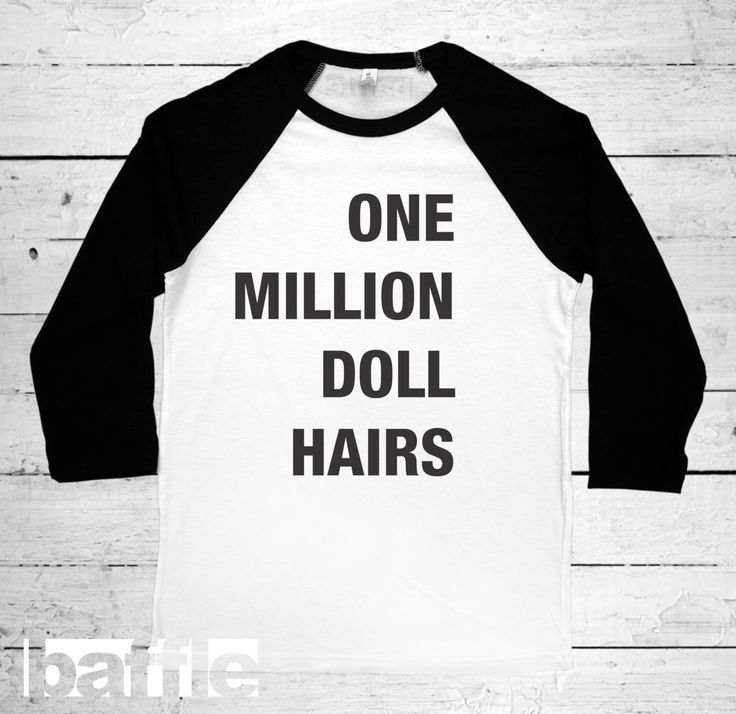 Baffle Tees / 1 Million Doll Hairs (Unisex 3/4 Baseball Tee, Black & White, Sizes: S, M, L, XL, XXL) Raglan Baseball Tee - novelty tshirts, by BaffleTeesShop on Etsy