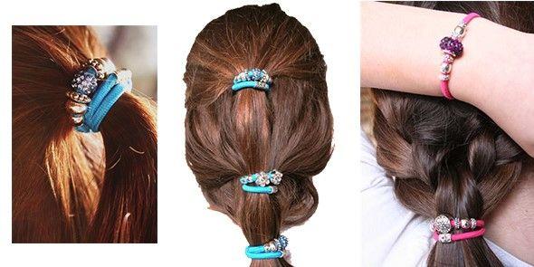 y así de bonitas quedan las pulseras elásticas solidarias cuando las utilizamos de gomas de pelo