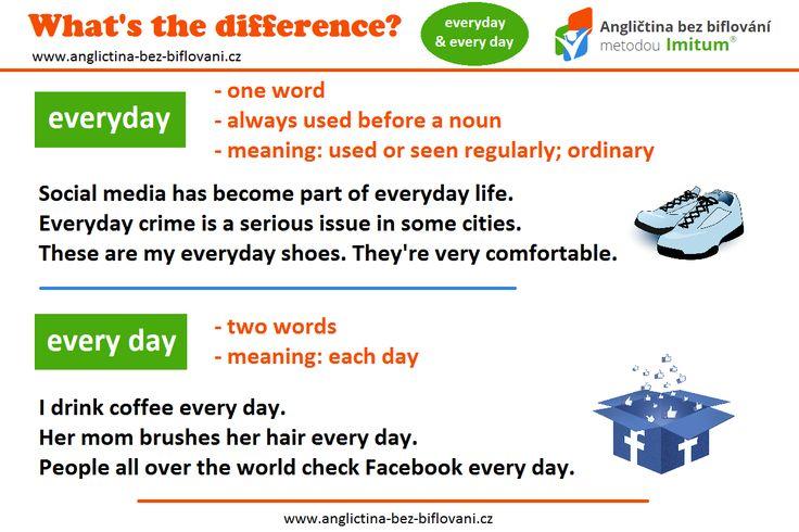 Existují činnosti, které vykonáváte každý den? Naučte se rozlišovat mezi anglickými slovíčky EVERYDAY (jedno slovo) a EVERY DAY (dvě slova). Tato nuance dělá často potíže i rodilým mluvčím.   #everyday