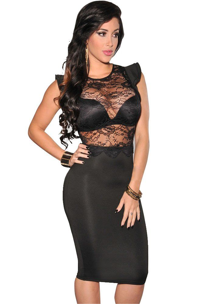 Cfanny Women's See Through Lace Top Sheer Dress Clubwear: