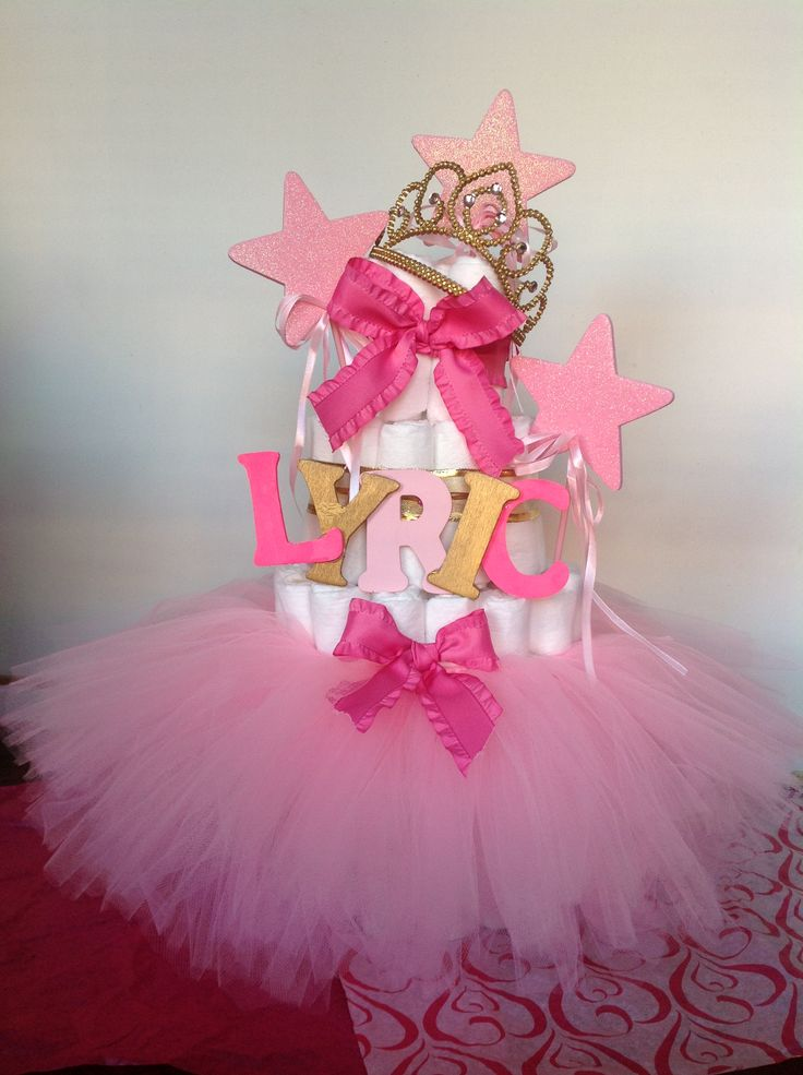 TUTUS AND TIARAS BABY SHOWER DIAPER CAKE.