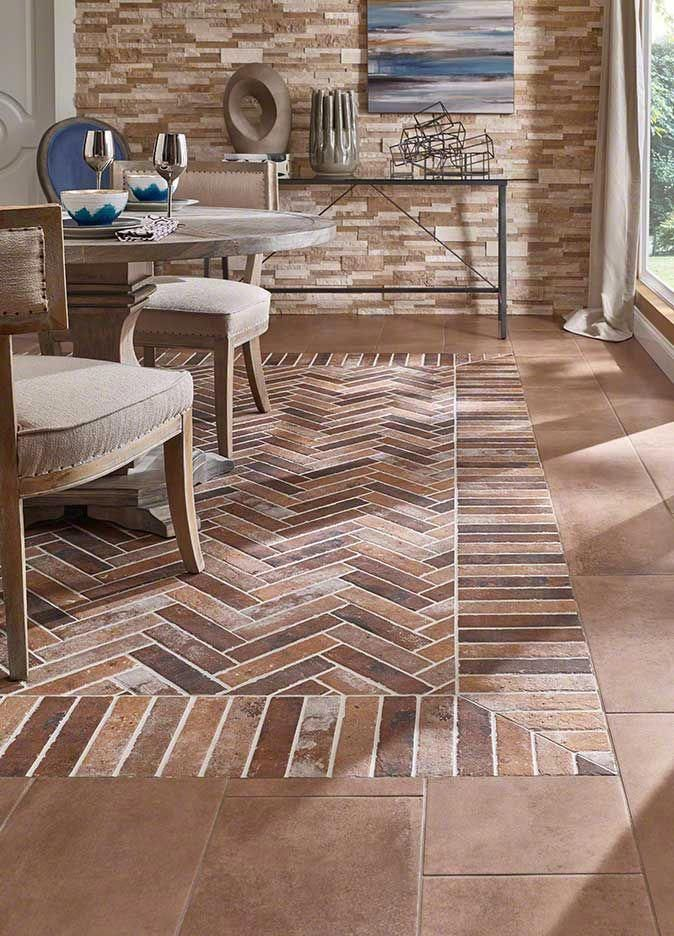 Inspired By Classic Brick Floors And Walkways An Accent Wall In An Urban Loft And Vintage Brick Pavers New Ca Porcelain Flooring Tile Trends Brick Look Tile