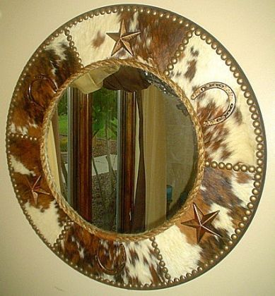 Round wall mirror western cowboy and western decor on for Decorative crafts mirrors