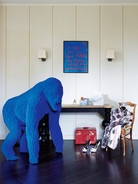 Blue gorilla sculpture