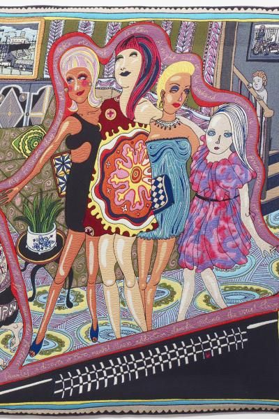 Grayson Perry, The Adoration of the Cage Fighters, 2012, wool, cotton, acrylic, polyester and silk tapestry. Arts Council Collection, Southbank Centre London and British Council; gift of the artist and Victoria Miro Gallery with the support of Channel 4 Television, the Art Fund and Sfumato Foundation with additional support from AlixPartners