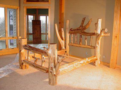 Elegant rustic log beds log home pinterest rustic for Rustic elegance furniture