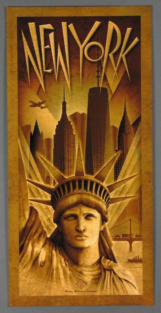 New York City Metropolis Statue of Liberty Freedom Tower Large Poster Brancato…