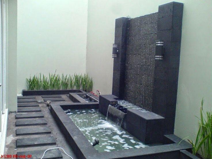 Contoh kolam ikan koi minimalis depan rumah