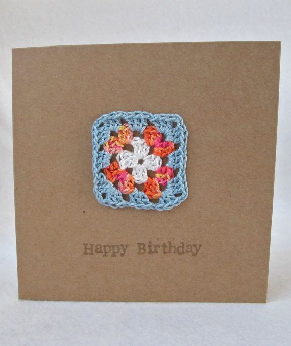 Happy Birthday Cards Crochet Card Greeting by VioletHeartByClare, £2.75