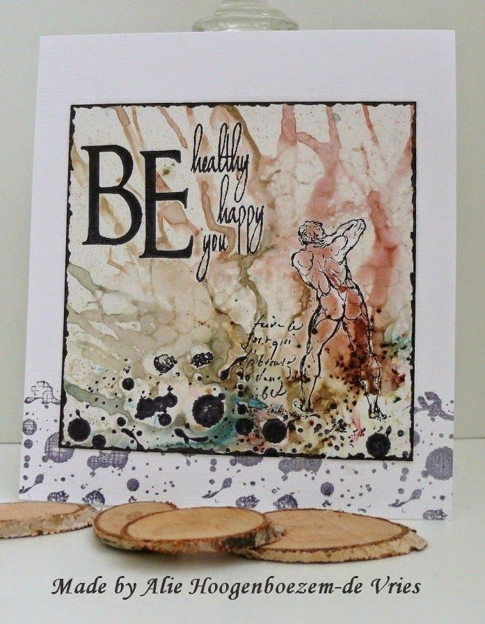 Stamped card, coloured with Bister, made by Alie Hoogenboezem-de Vries