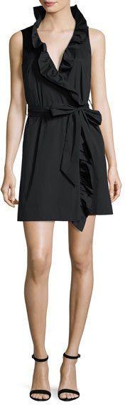 Milly Sleeveless Stretch-Poplin Ruffle-Front Wrap Dress, Black