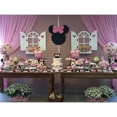 Resultado de imagen para decoração festa infantil minnie rosa vintage
