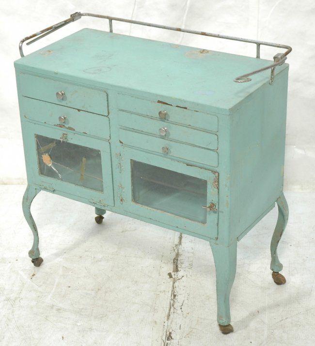 vintage medical cabinet | Vintage Metal & Glass Door Medical Cabinet. Green