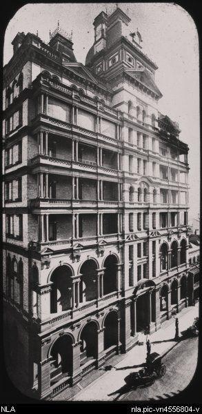 Hardie, Fred. Hotel Australia, Castlereagh Street, Sydney, ca.1892 [transparency]