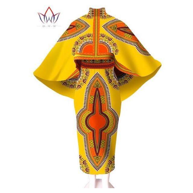 Африканские Платья для Женщин Две Пьесы Набор Зима Урожай Топ и Юбка набор Костюмов для Женщин Unqie Мыса Пальто и Юбка Макси 6XL WY545