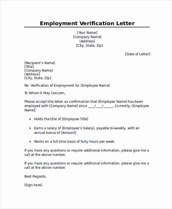 Sample Employee Verification Letter Lovely Employment Verification Letter Templates 7 Documents In Letter Of Employment Letter Template Word Letter Templates