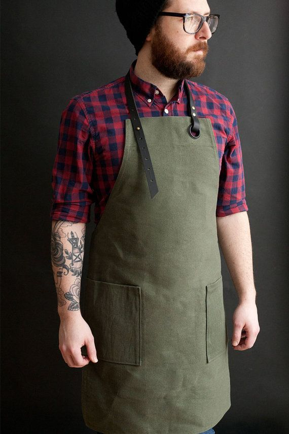 Canvas Apron green / Tablier en toile vert by NOIRnBLACK on Etsy