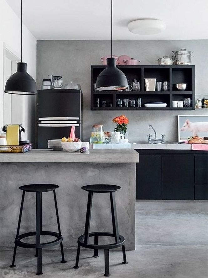 Kitchen with black accents