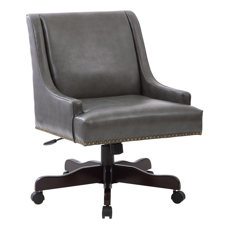 Inspired by Bassett Everton Midcentury Home Office Chair in Pewter Bonded Leather with Bronze Nail heads and Espresso Base (Pewter), Brown