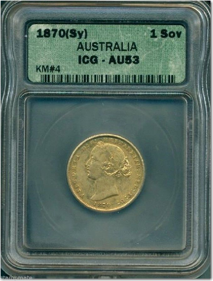 AUSTRALIA SOVEREIGN 1870 Sydney M Gold ICG-AU53 SCARCE -PRICED TO SELL-HAVE LOOK