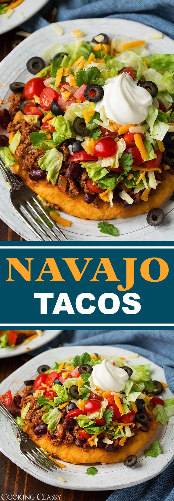 Homemade Indian fry bread loaded with a seasoned beef and bean taco filling and finished with all the classic taco toppings. A family favorite!