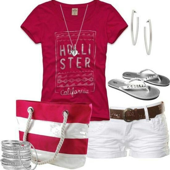 Pink and white summer outfit