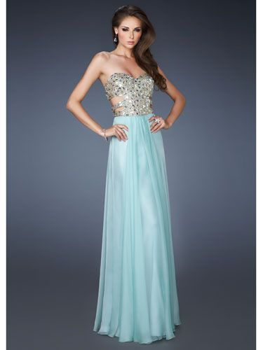 Long, blue, strapless dress with side cutouts!