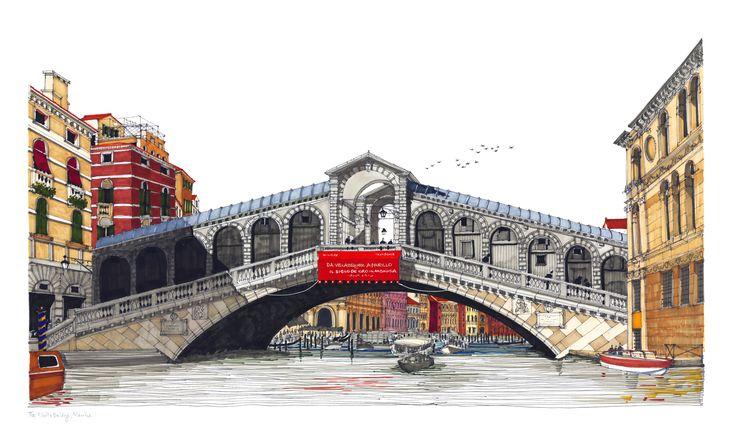 Rialto Bridge, Venice. #Venice #Grand Canal #Rialto Bridge #Architecture #Art #Drawing