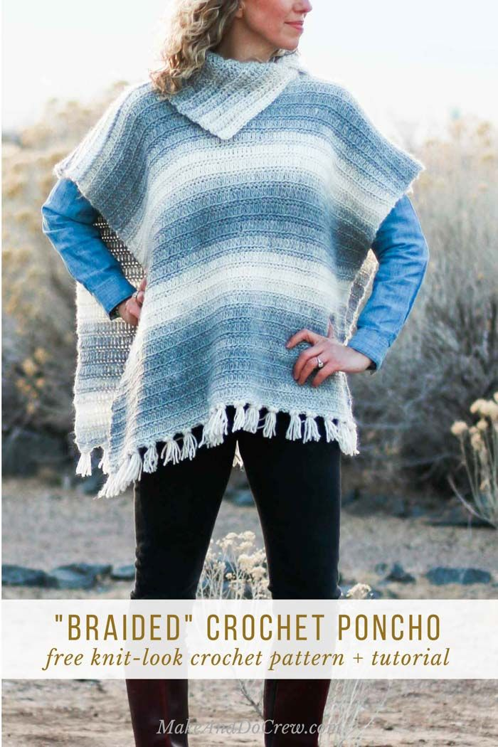 Woman in a desert setting wearing a southwestern-looking handmade crochet poncho with fringe (and no sleeves).