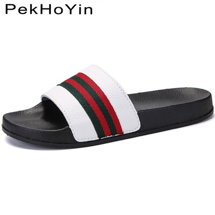 Men Slippers Shoes Leather Brand Summer Soft Footwear Fashion Male Water Shoes Slides Outdoor Rubber Flat Men Sandals Beach Shoe