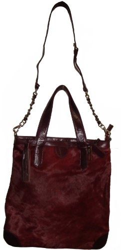 Women's Aqua Madonna Large Genuine Leather Handbag (Burgundy)