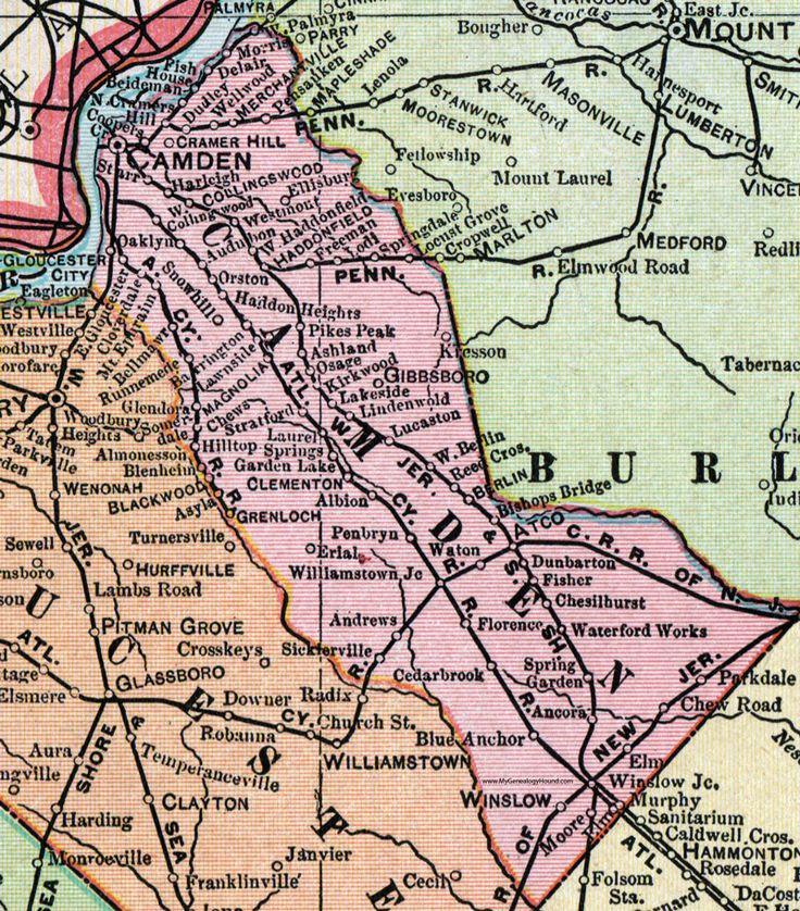 Camden County, New Jersey, Map, 1905, Cram, Collingswood, Haddonfield, Lindenwold, Gloucester City, Merchantville, Gibbsboro, Clementon, Glenloch, Winslow, Magnolia, Stratford, Laurel Springs, Starr, Cramer Hill, Audubon, Harleigh