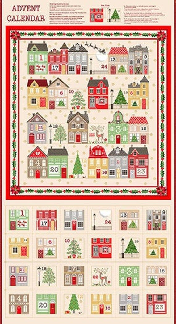 House Advent Calendar Christmas Holiday Cotton Quilting Panel Fabric