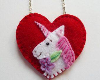 Lila unicornio collar colgante de unicornio por FeltHairBoutique