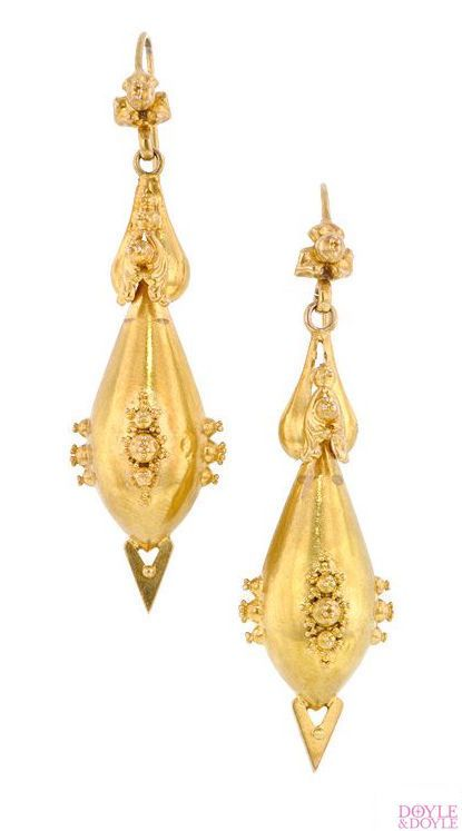 Antique Victorian Gold Long Drop Earrings With Granulation Details In 15k Circa 1870