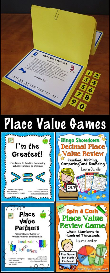 Four awesome place value games for cooperative learning or math centers! CCSS aligned and perfect for 4th or 5th grade. Covers whole numbers and decimals. #LauraCandler