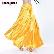 2017 Señora Accesorios de Danza Del Vientre Falda 16 Colores de Raso Largo Falda Gitana Danza Bollywood Mujeres Vistiendo Tribal Danza Del Vientre Falda(China (Mainland))