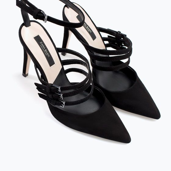 Image 5 of LEATHER COURT SHOE WITH STRAPS from Zara