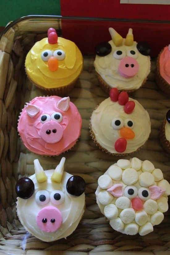 Farm+Animal+Cupcakes                                                                                                                                                     More