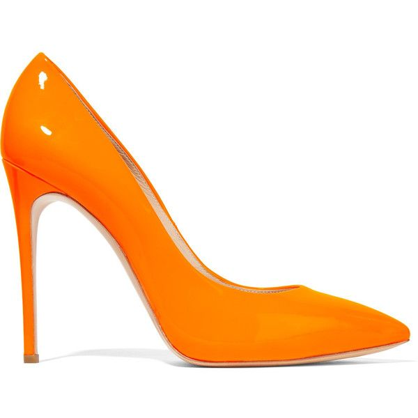 Casadei - Neon Patent-leather Pumps ($299) ❤ liked on Polyvore featuring shoes, pumps, orange, casadei pumps, neon shoes, orange pumps, patent leather pointy toe pumps and high heel shoes