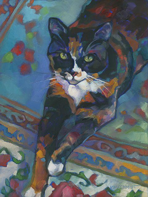 Just Landscape Animal Floral Garden Still Life Paintings by Louisiana Artist Karen Mathison Schmidt: Jo, the Amazing Technicolor Dream Cat contemporary...