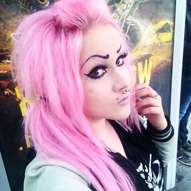 Pink side ponytail hair alternative girl