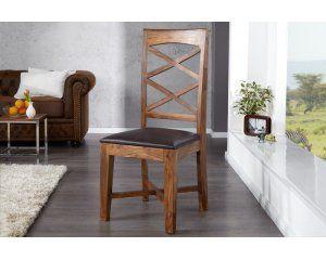 Krzesło z drewna shisham z siedziskiem obitym skórą ekologiczną - 1